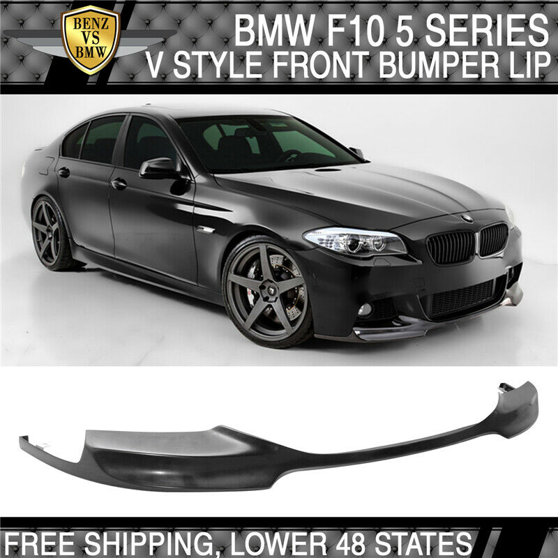 11 16 bmw f10 5 series v style front bumper lip unpainted black pu ebay. Black Bedroom Furniture Sets. Home Design Ideas