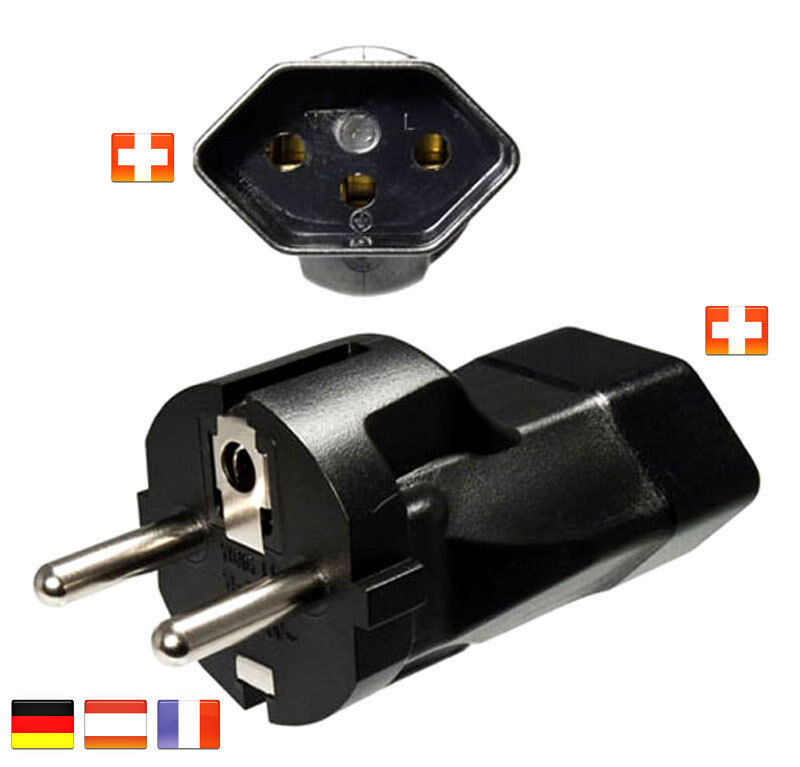 reiseadapter schweiz sev kupplung deutschland schuko stecker reise adapter ch ebay. Black Bedroom Furniture Sets. Home Design Ideas