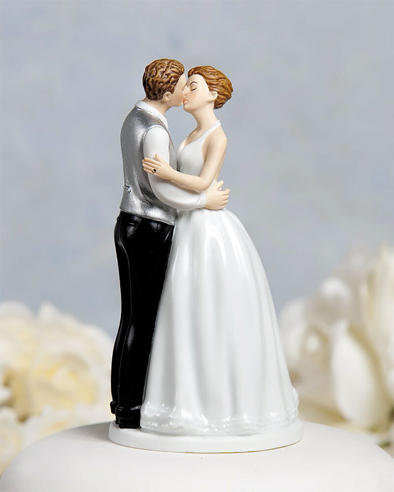 Bride Wedding Cake Topper: Romance Kissing Wedding Cake Topper Bride Groom Couple