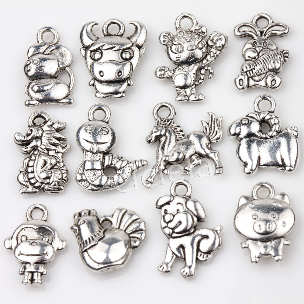 Bead Charm Bracelets: Wholesale 24Pcs Tibetan Silver Zodiac Constellation Dangle