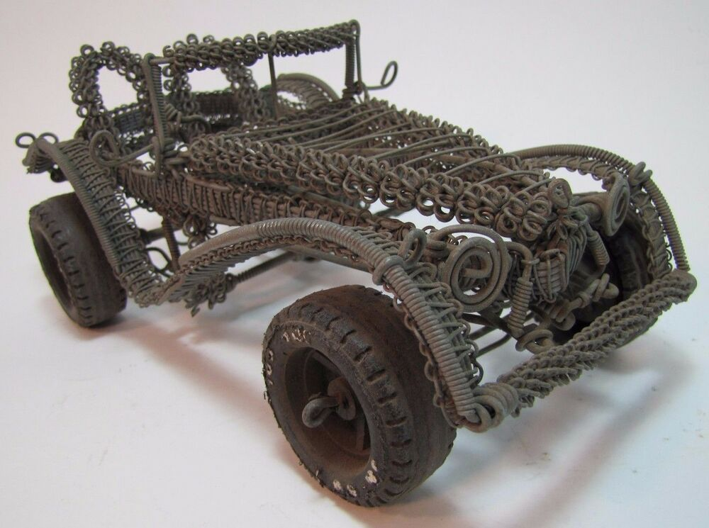 Old Folk Art Metal Wire Handmade Car Buggy Auto Sculpture Toy ...
