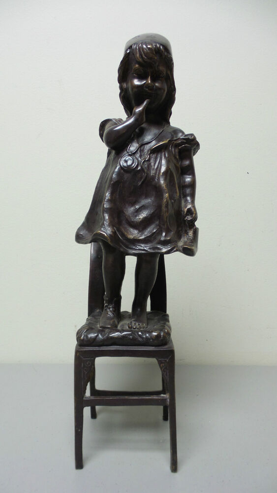 Wonderful Large 17 U0026quot  Bronze Sculpture Of Young Girl Standing In Chair