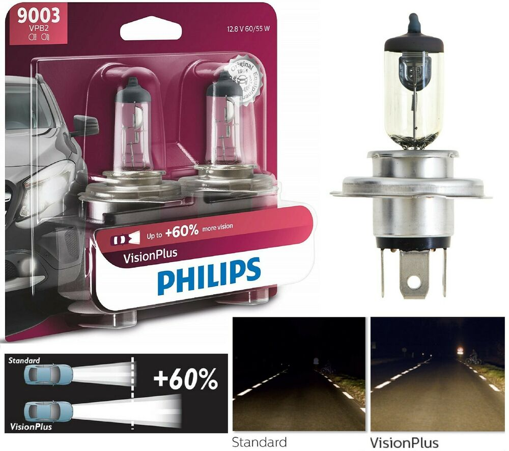 philips vision plus 60 9003 hb2 h4 60 55w two bulbs head. Black Bedroom Furniture Sets. Home Design Ideas