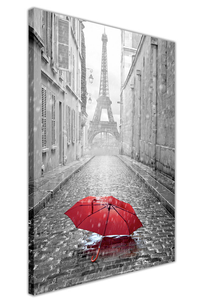 black and white photo paris eiffel tower with red umbrella canvas wall art print ebay. Black Bedroom Furniture Sets. Home Design Ideas