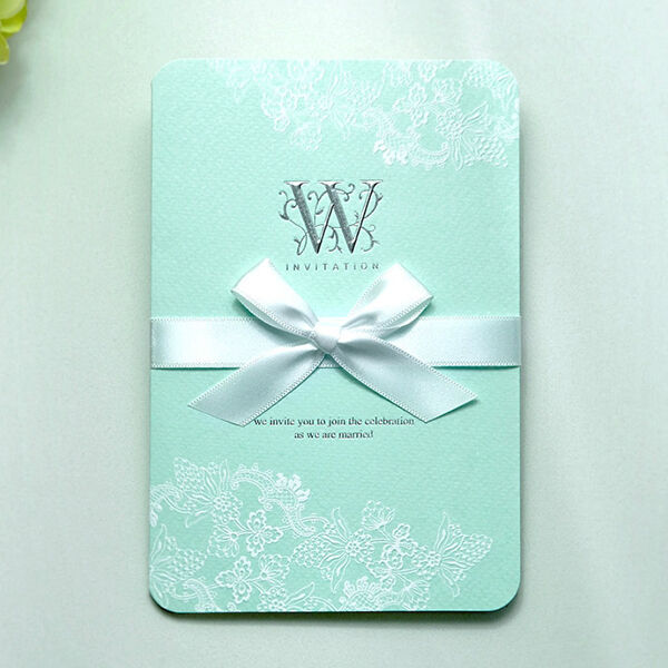 Custom aqua embossed ribbon wedding invitations free for Ebay navy wedding invitations