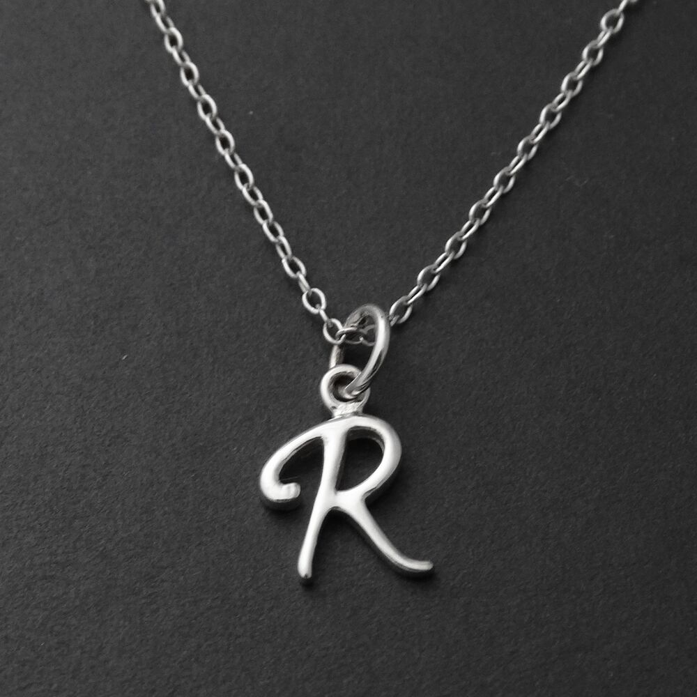 letter pendants tiny initial letter r necklace 925 sterling silver 23117