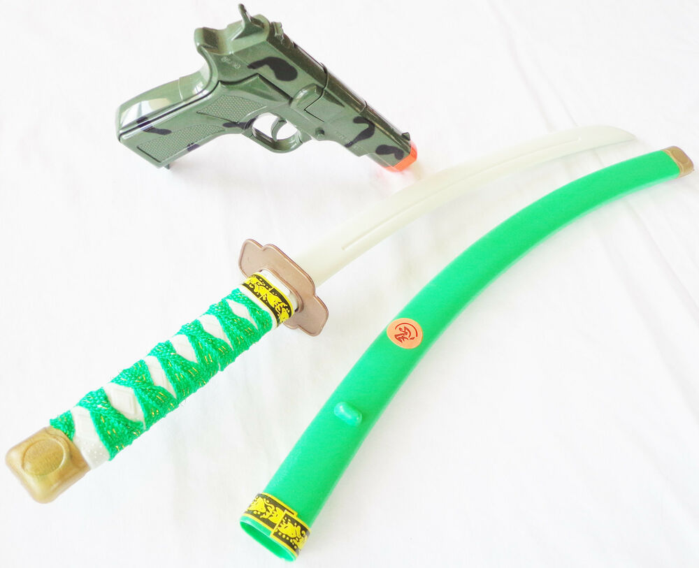 Toy Swords And Guns : Toy samurai green ninja katana sword camo mm pistol