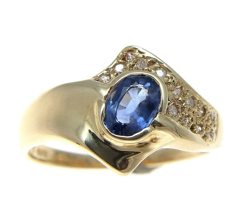 0 70ct Genuine Oval Cut Sapphire Amp Diamond Solitaire Ring