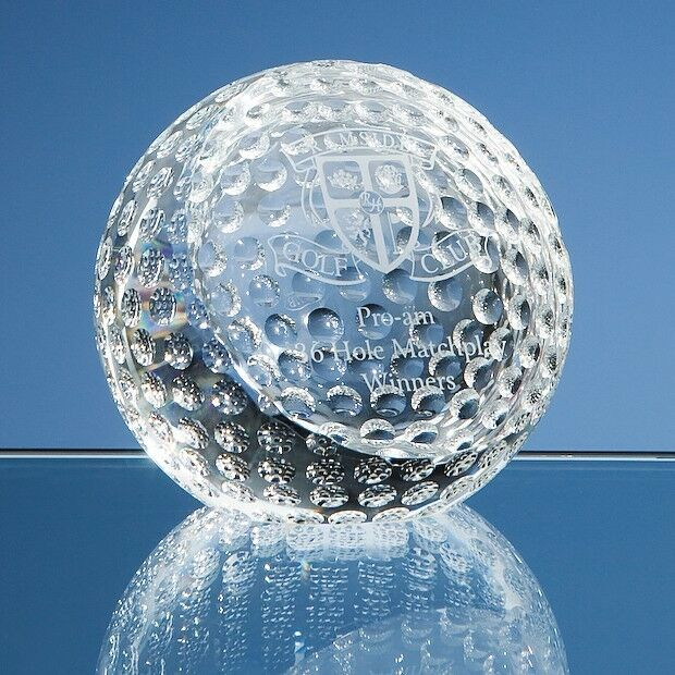 Engraved Personalised Glass Golf Ball Paperweight