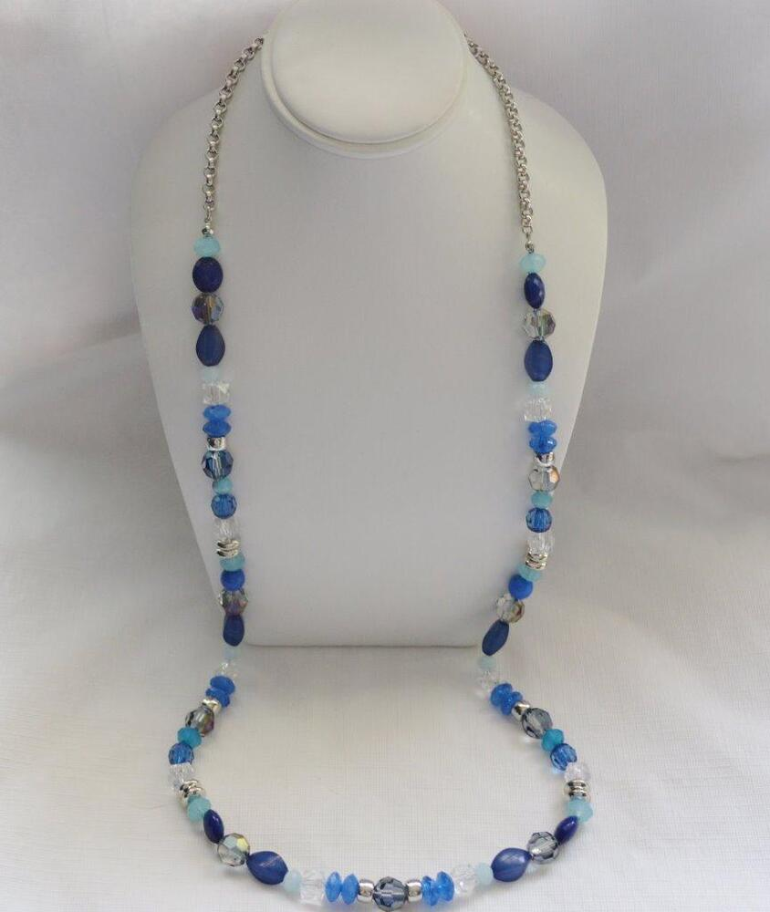 Long Single Strand Designer Necklace Blue Silver And More