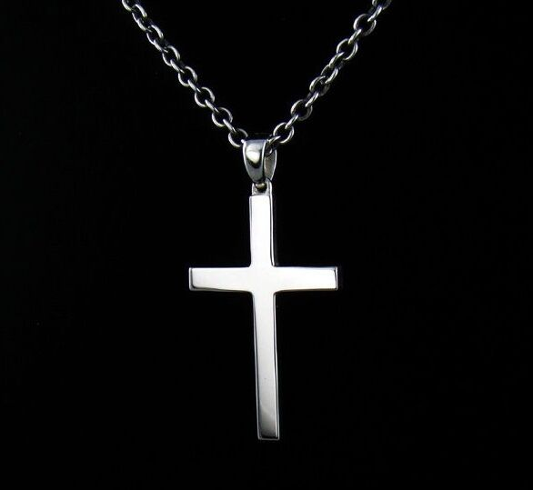 new sterling silver 925 simple cross pendant chain