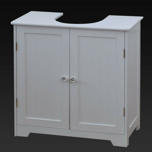 White Bathroom Furniture Storage Cupboard Cabinet Shelves: White Under Sink Basin Cabinet Cupboard Bathroom Furniture