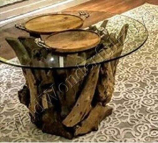 Teak Driftwood Coffee Table Cocktail Glass Top Nautical