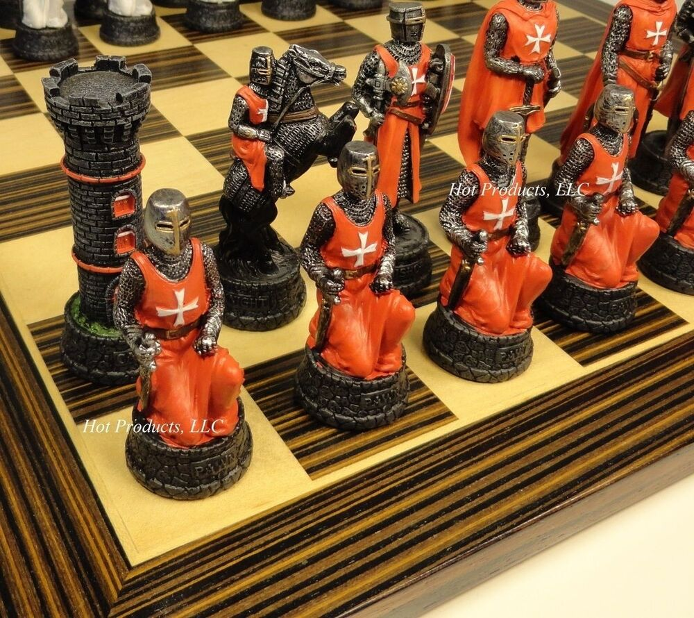 Medieval times crusades warrior red white chess set ebony maple board 14 ebay - Medieval times chess set ...