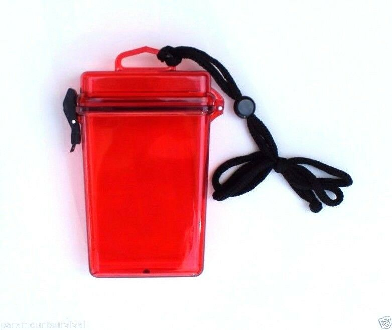 large waterproof storage container with lanyard red camp fits most smart phones ebay. Black Bedroom Furniture Sets. Home Design Ideas