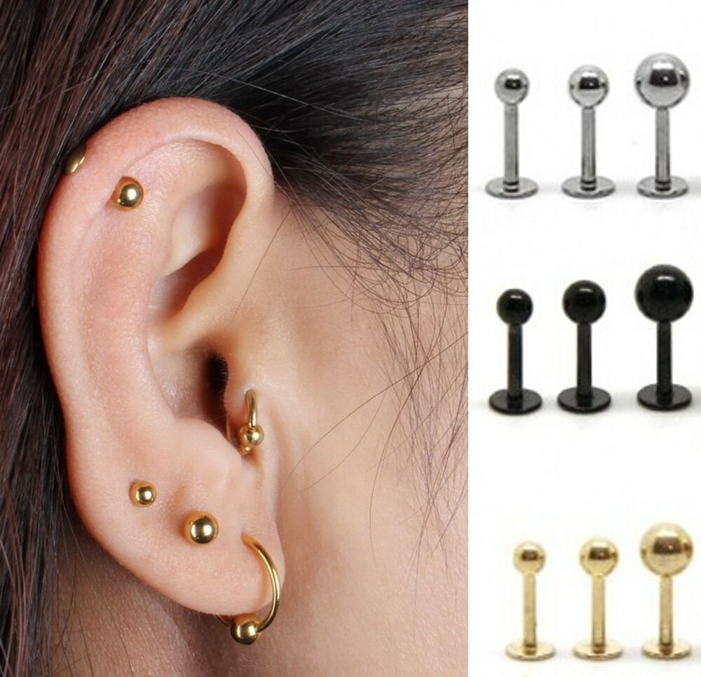 Cool Surgical Steel Bar Earring Stud Tragus Cartilage ...
