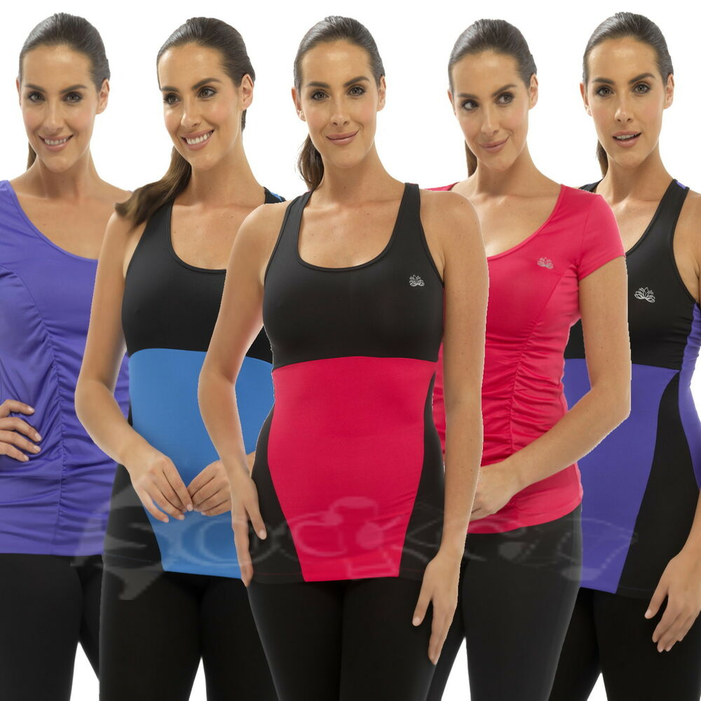 Ladies Yoga Pants Top T-Shirt Gym Jogging 3/4 Bottoms