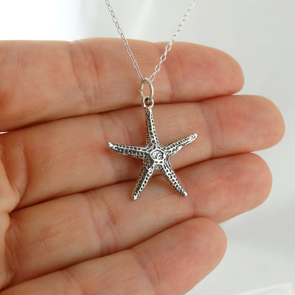 Starfish Charm Necklace 925 Sterling Silver New Beach