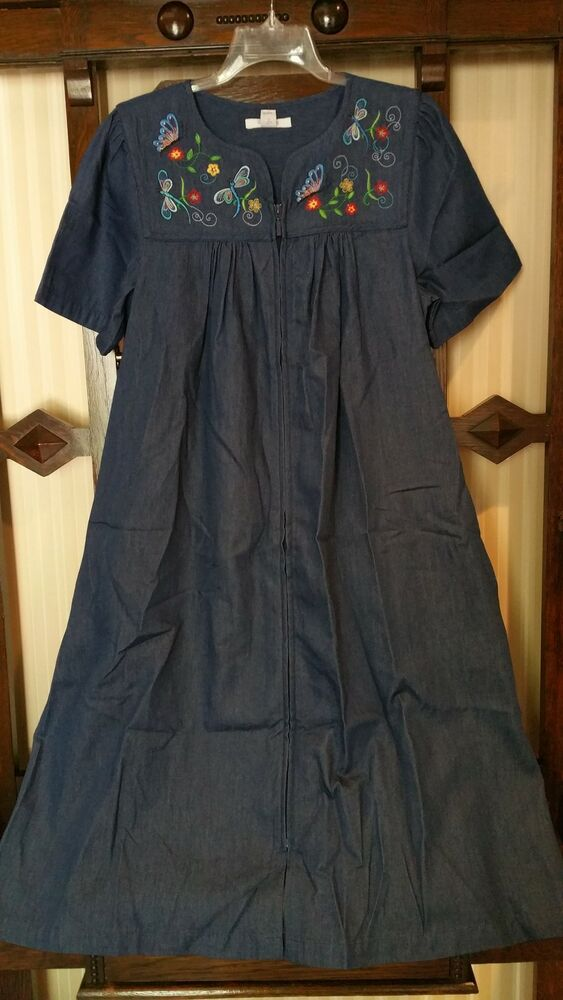 Nwt Go Softly 100 Cotton Dk Denim Zip Front House Dress Muu