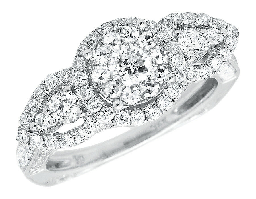 14k White Gold Bridal Cluster 3D Halo VS Diamond Wedding Engagement Ring