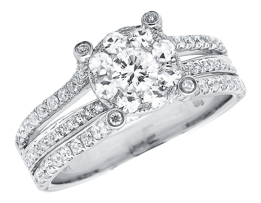 14k White Gold Bridal Cluster Split Shank VS Diamond Wedding Engagement Ring