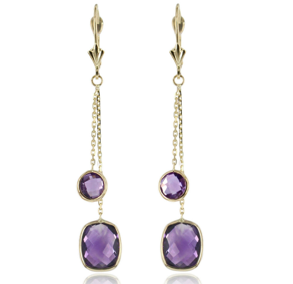 14k yellow gold earrings with purple amethyst gemstones. Black Bedroom Furniture Sets. Home Design Ideas