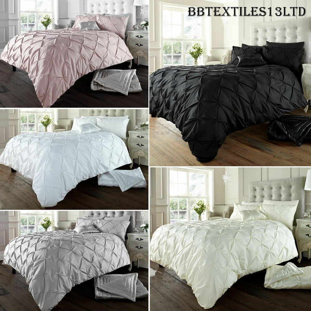 Diamond pintuck duvet cover set with pillow cases luxury for Bed pillow sets