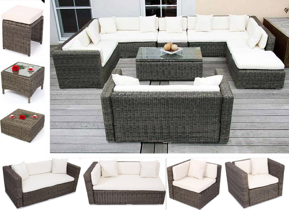 luxus poly rattan gartenm bel sessel sofa grau garten m bel sitzgruppe garnitur ebay. Black Bedroom Furniture Sets. Home Design Ideas