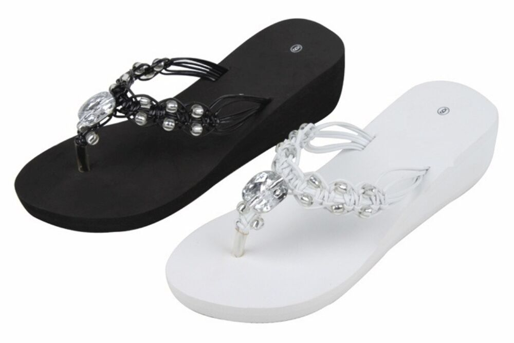 515755762f1bb Details about WOMENS JEWELED OPEN TOES FLIP FLOP SANDALS BLACK WHITE SIZES  6 7 8 9 10