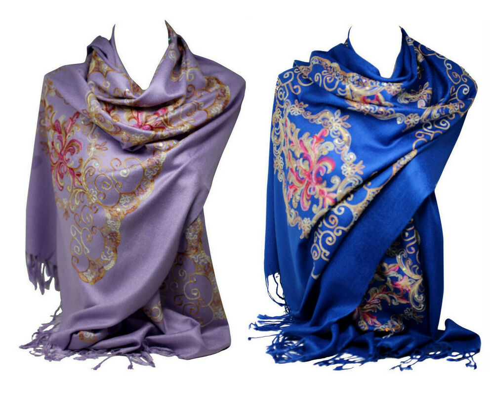 beautiful embroidered pashmina feel wrap scarf scarves