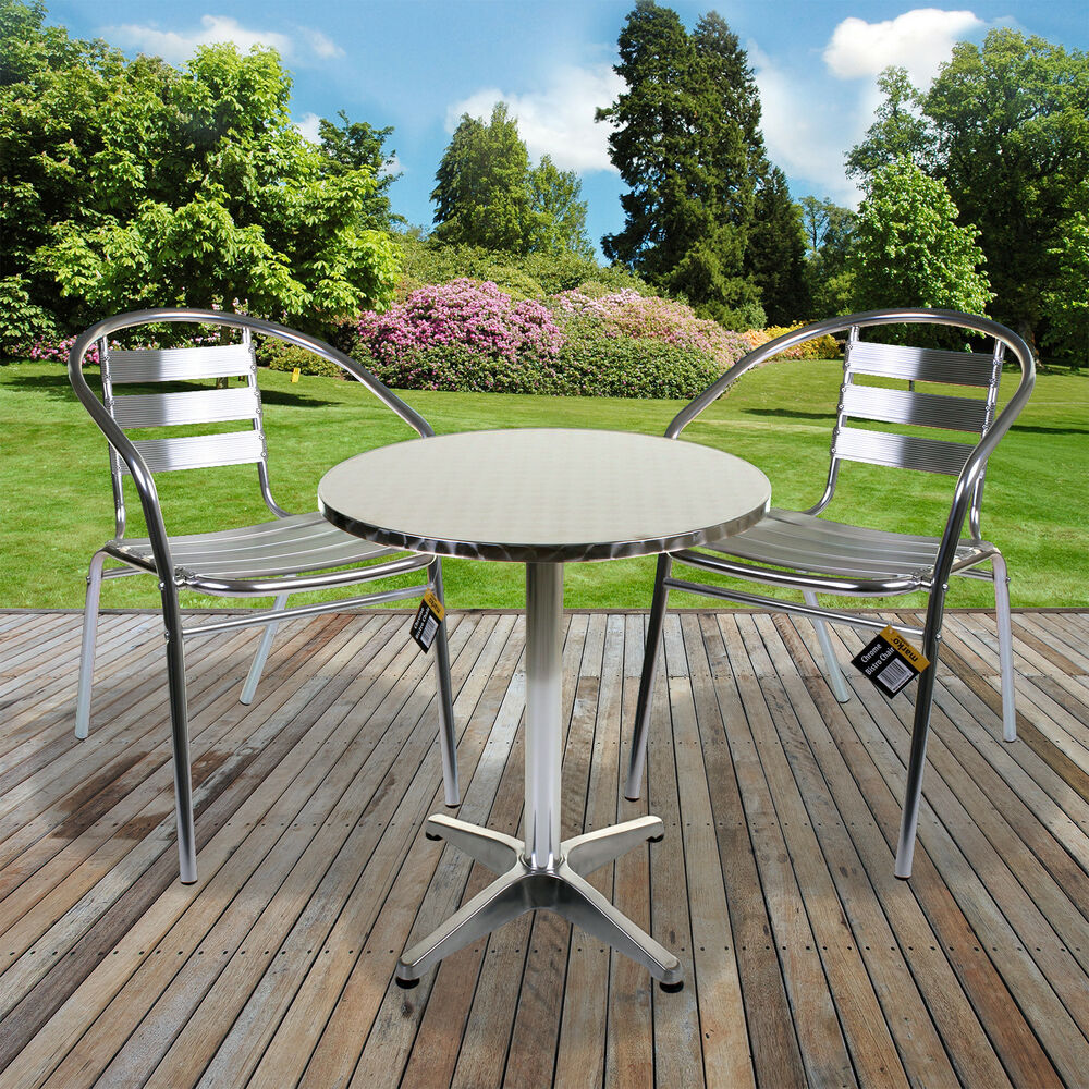 Aluminium lightweight chrome bistro sets table chair patio for Outside table and chairs