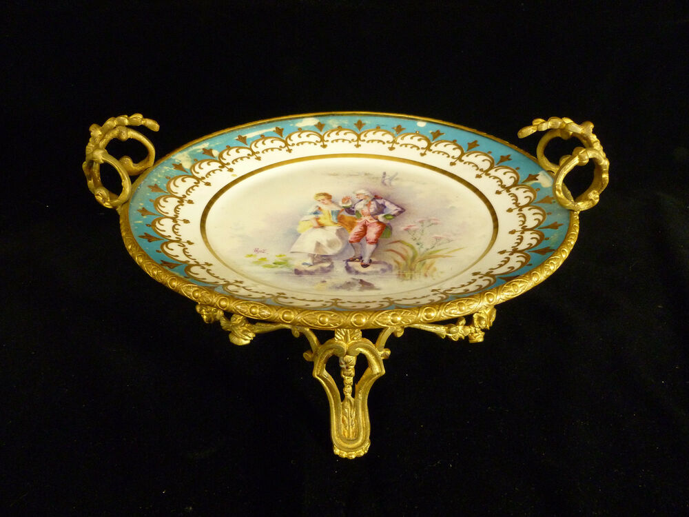 Signed sevres hand painted portrait plate in bronze stand for Hand painted portraits from photos