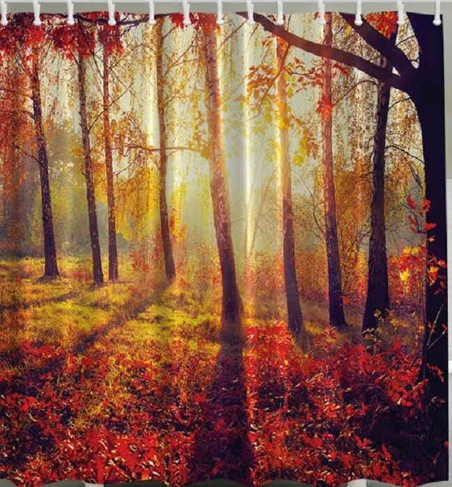 Twilight Fall Trees Fabric SHOWER CURTAIN Forest Red