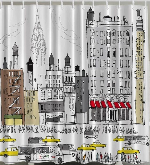 nyc yellow cab fabric shower curtain bus new york drawing