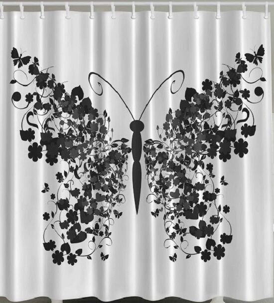 Butterfly Floral Wings Fabric Shower Curtain Flower Black White Bathroom Decor Ebay