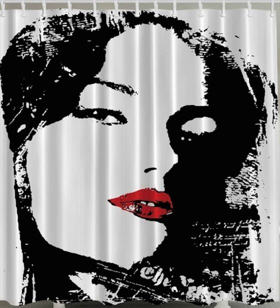 Woman Face Fabric Shower Curtain Red Lips Black White Lady