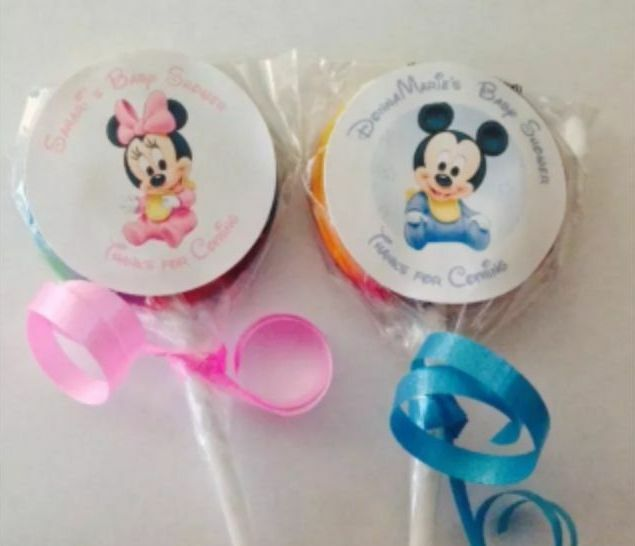Minnie Mouse Baby Shower Party Favors: Baby Mickey/Minnie Mouse Swirl/Twirl Lollipop Baby Shower