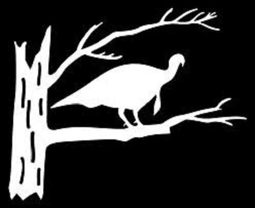 White Vinyl Turkey In A Tree Hunter Decal Car Truck ...