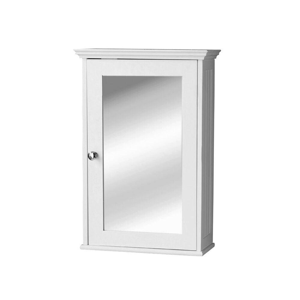 white wood finish wall mounted mirrored door cabinet bathroom utility