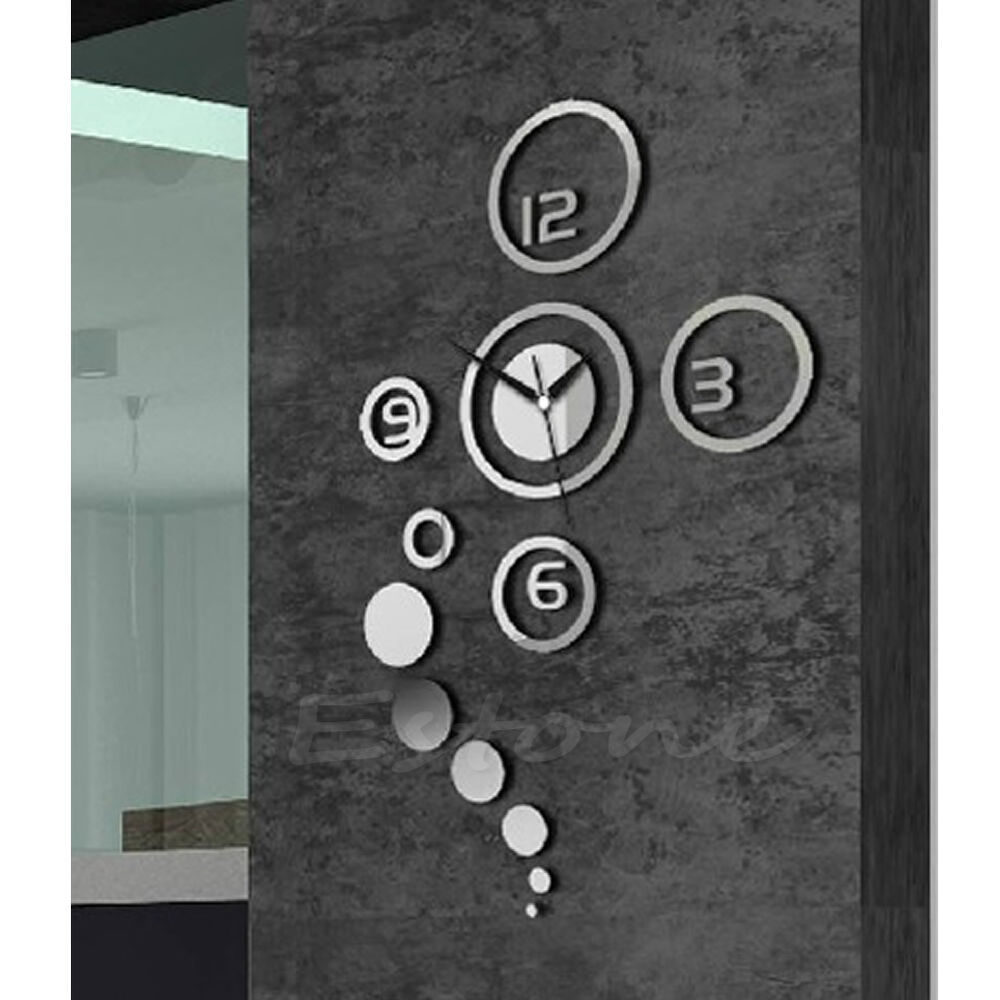 Mirror Style Diy Wall Clock Removable Decal Vinyl Art Wall