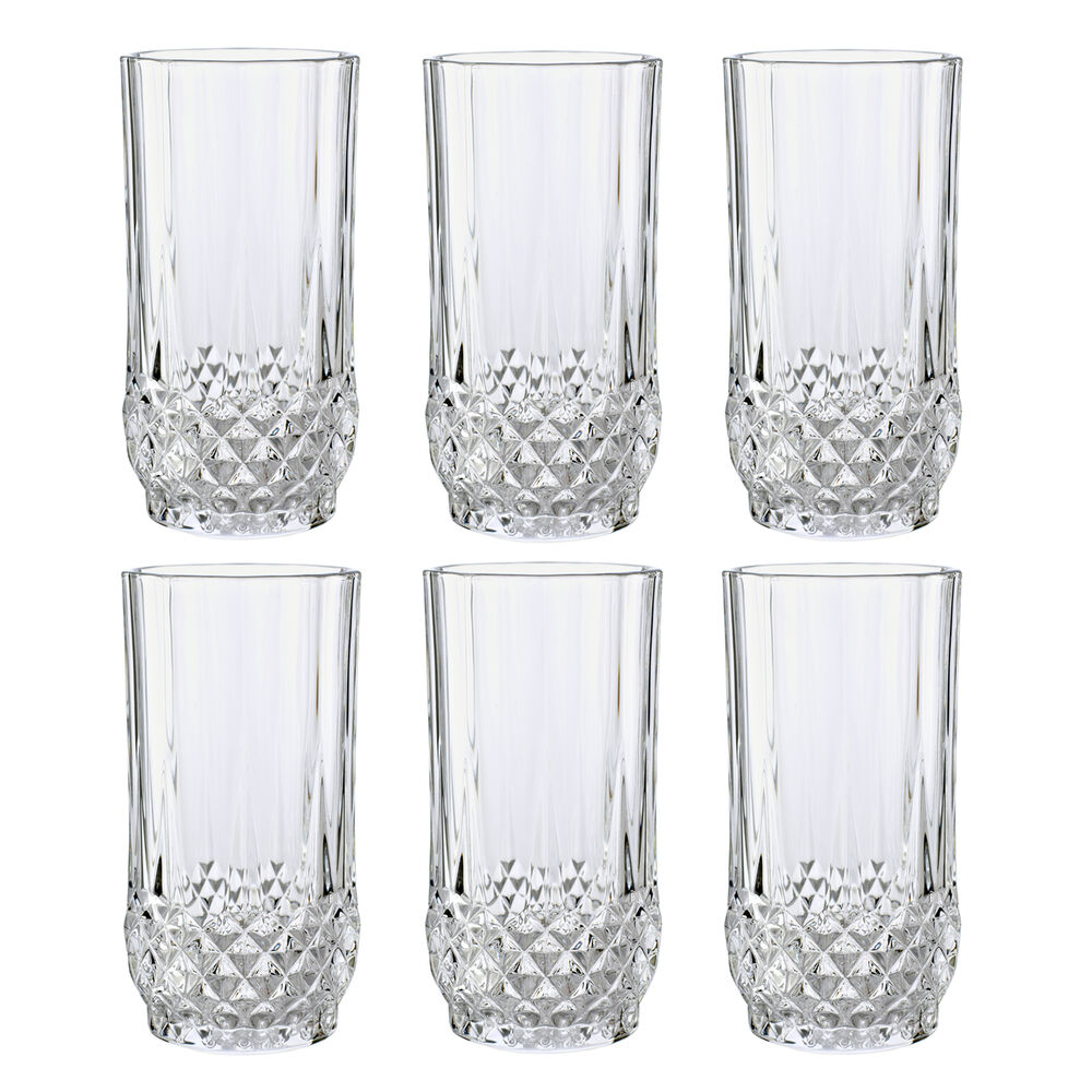 cristal d 39 arques 28cl longchamp hiball glass 6pc clear diamax crystal tumbler ebay. Black Bedroom Furniture Sets. Home Design Ideas