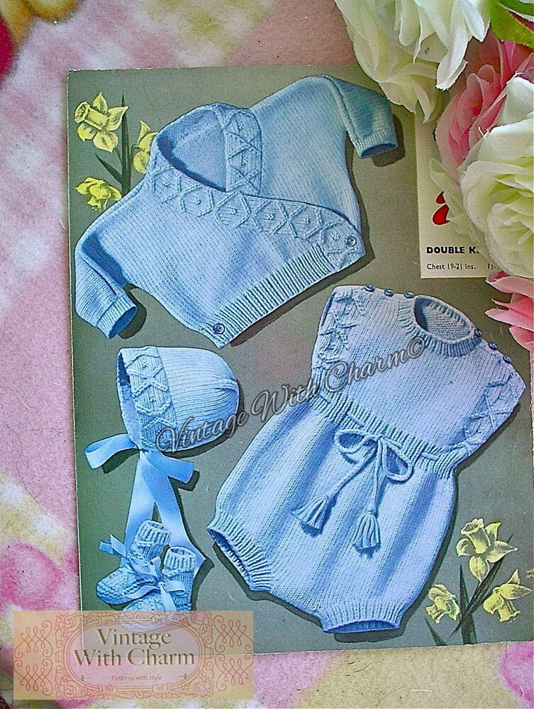 Large Print Vintage Knitting Pattern Baby S Romper Set