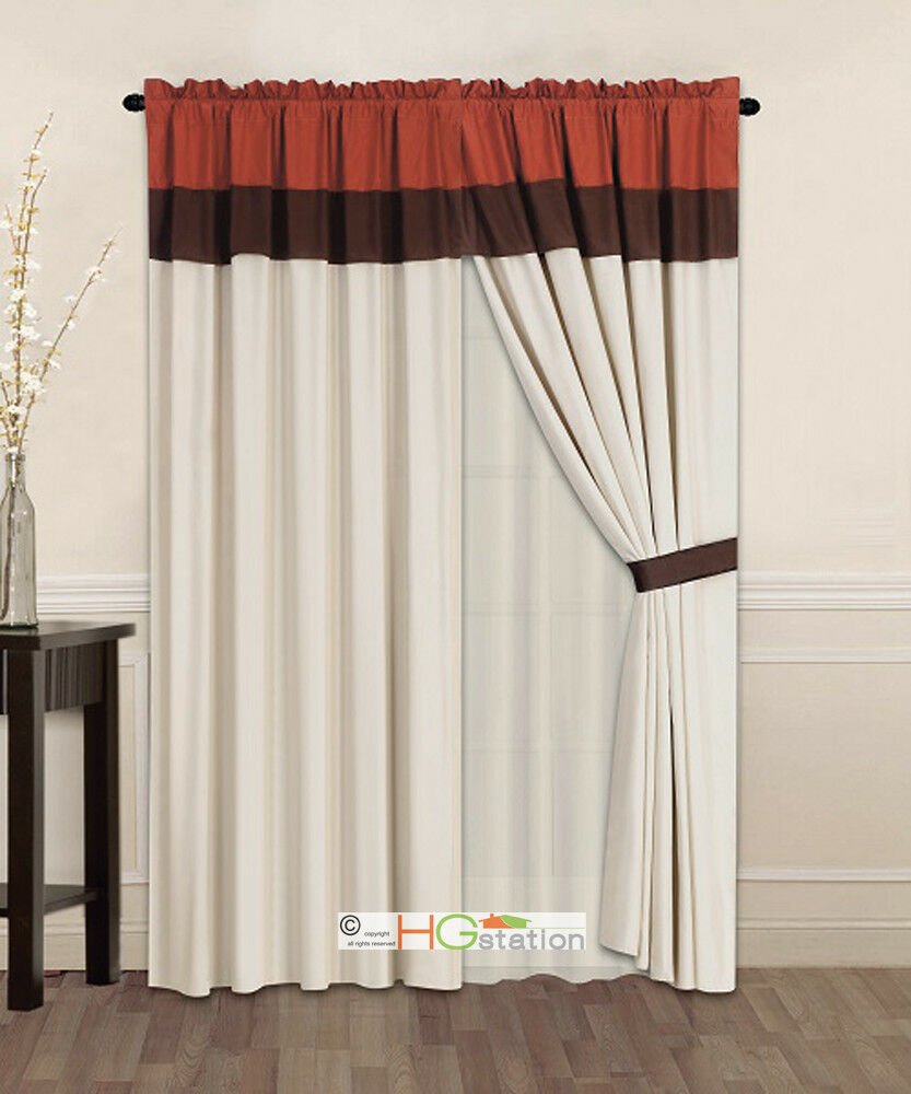 4p Striped Solid Curtain Set Rust Orange Brown Beige
