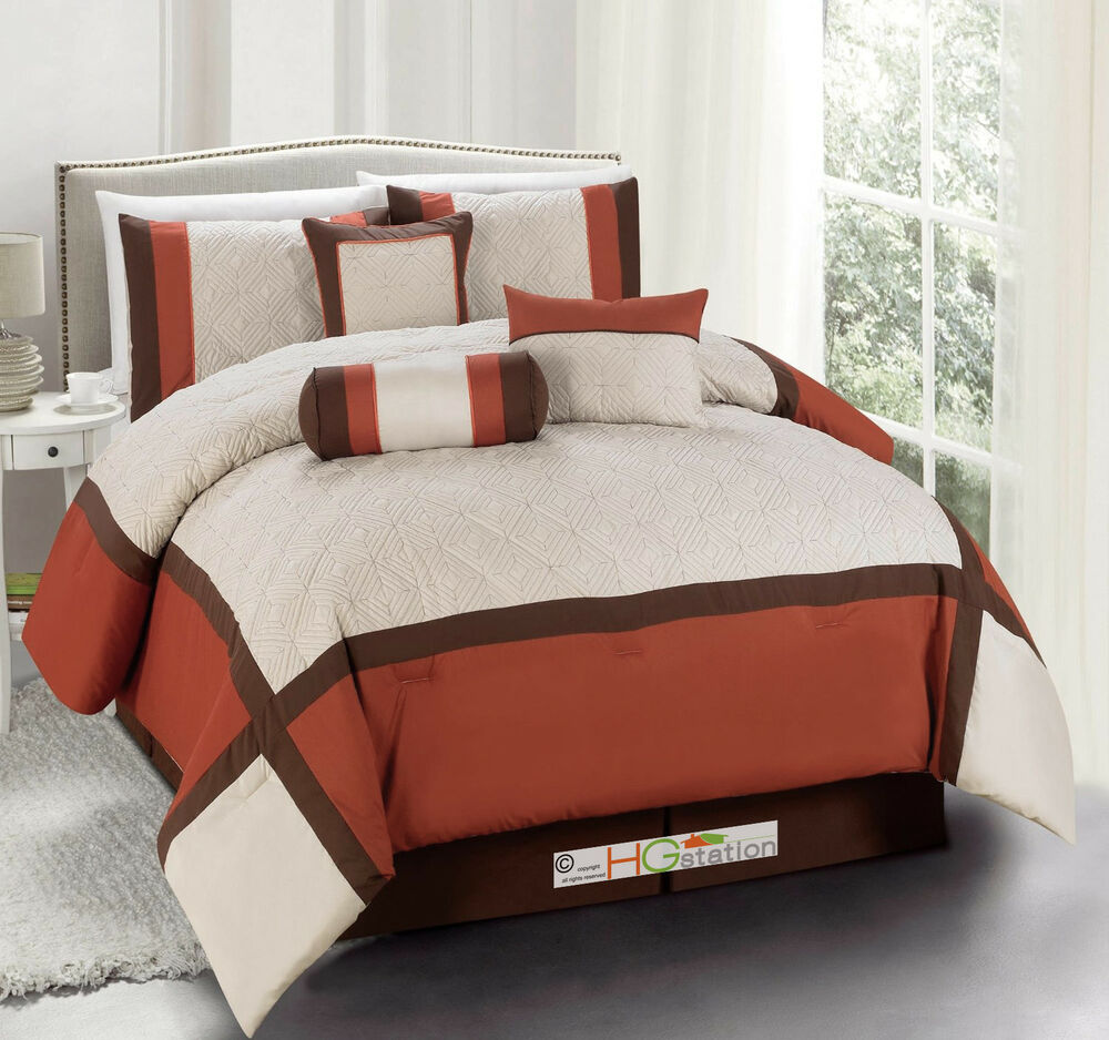 7pc Quilted Diamond Square Patchwork Modern Comforter Set