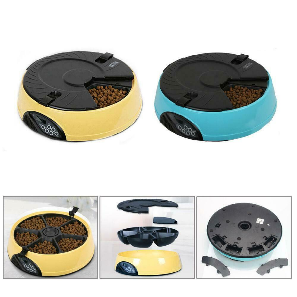 6 Meal Timed Automatic Pet Feeder Auto Dog Cat Food Bowl