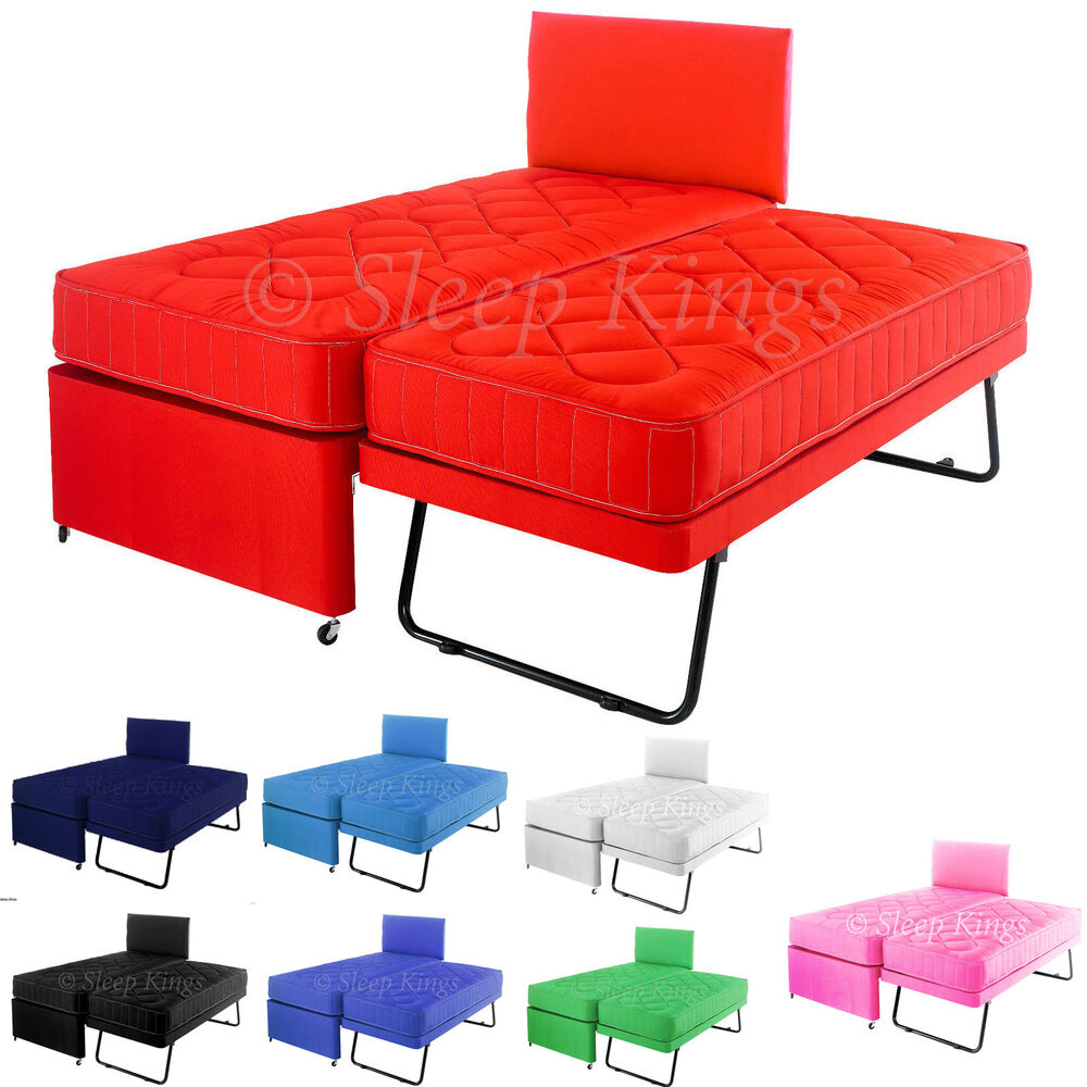 3ft single coloured guest bed 3 in 1 with mattress pull. Black Bedroom Furniture Sets. Home Design Ideas