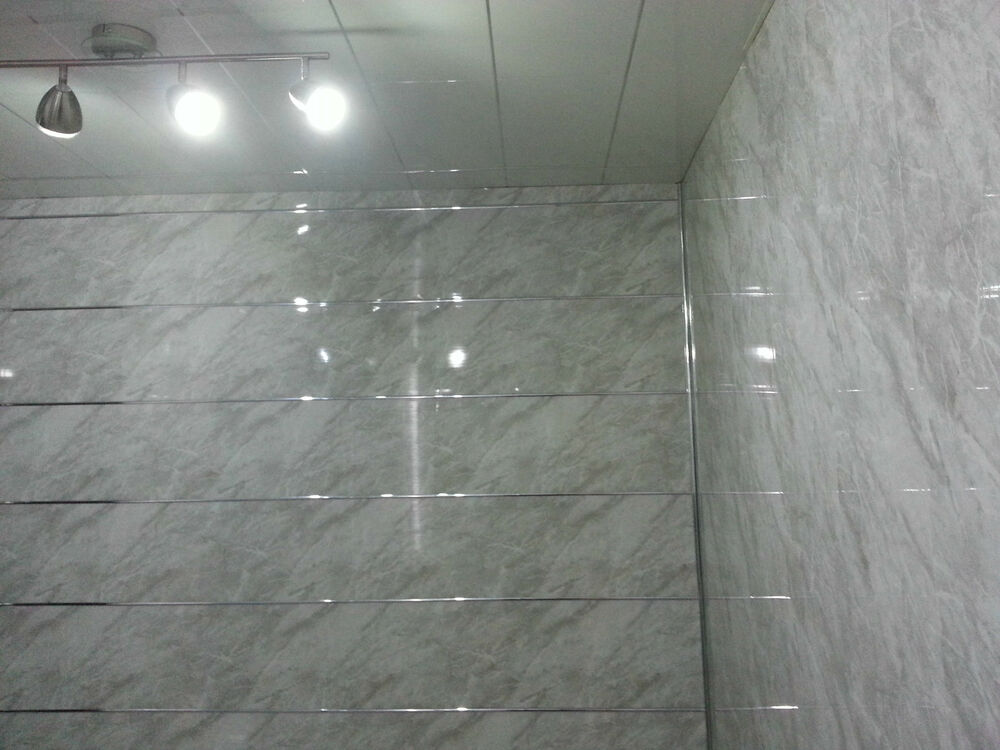 Marble Wall Paneling : Slate grey marble effect pvc bathroom wall cladding
