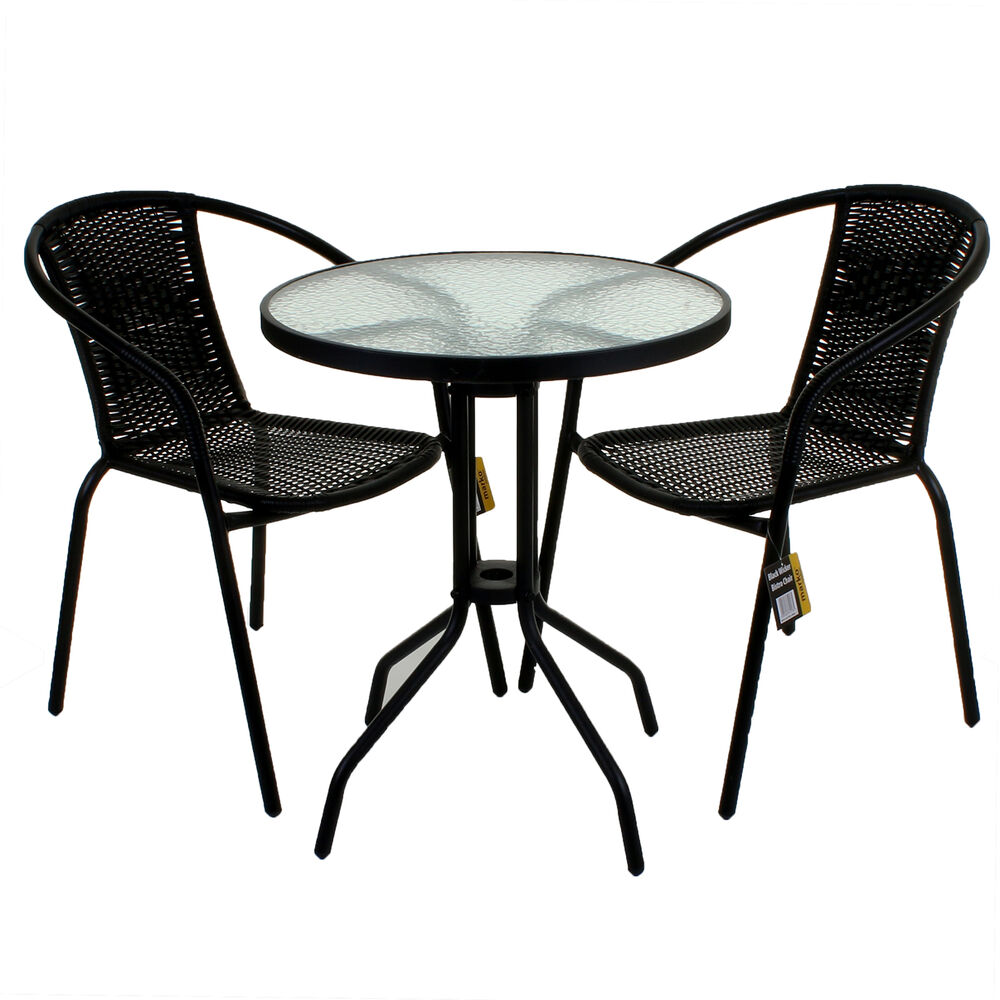 Black wicker bistro sets table chair patio garden outdoor for Garden furniture table and chairs