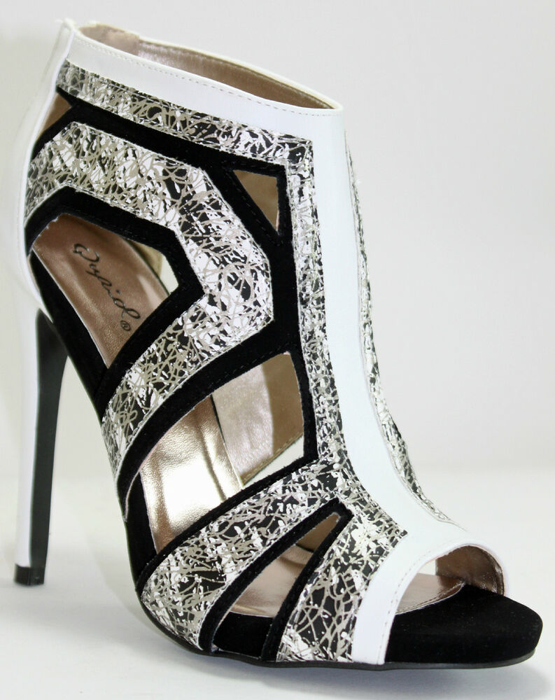 color block caged sandals black and white marble prints w