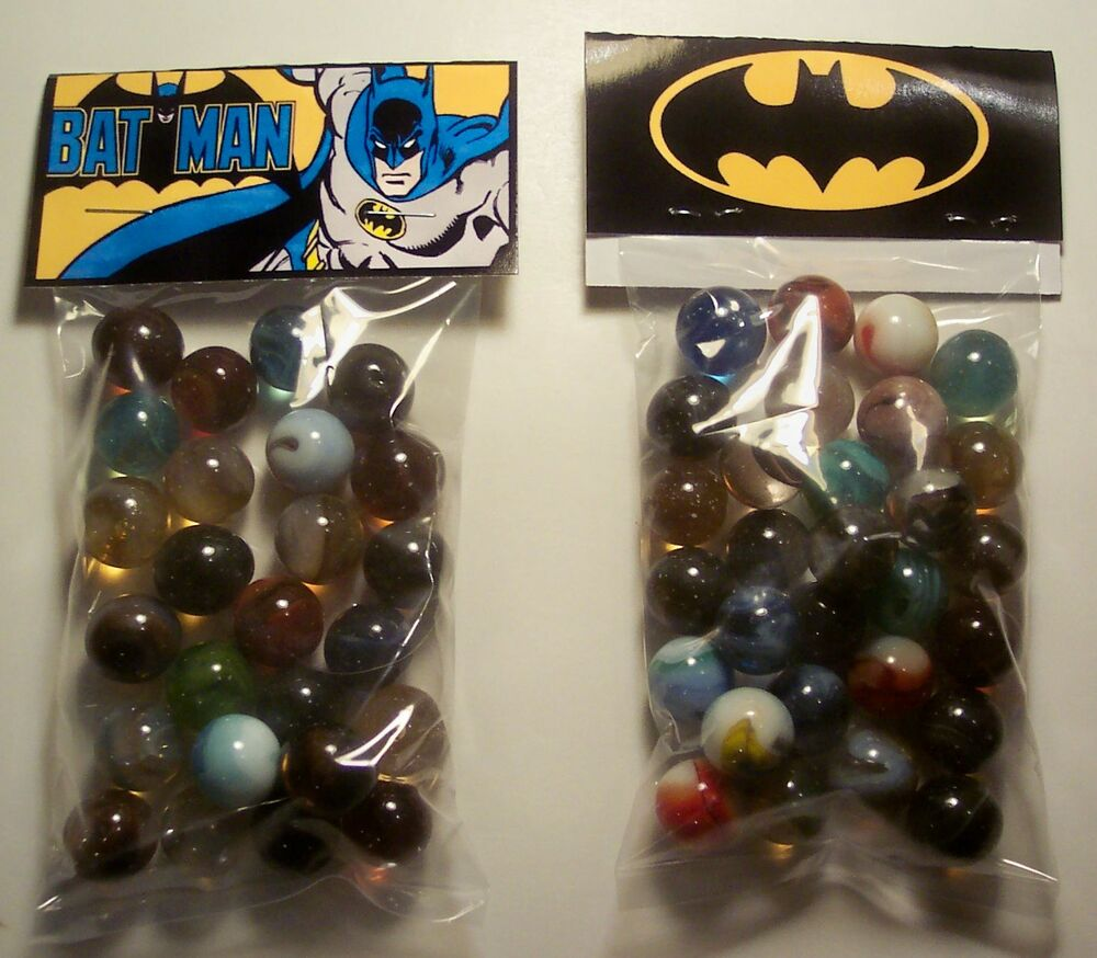 2 Bags Of Bat Man Comic Book Movie Advertising Marbles